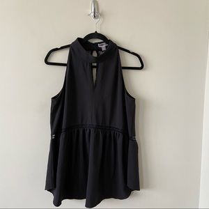 NWT-Chelsea 28 High Neck Lace Back Peplum Top
